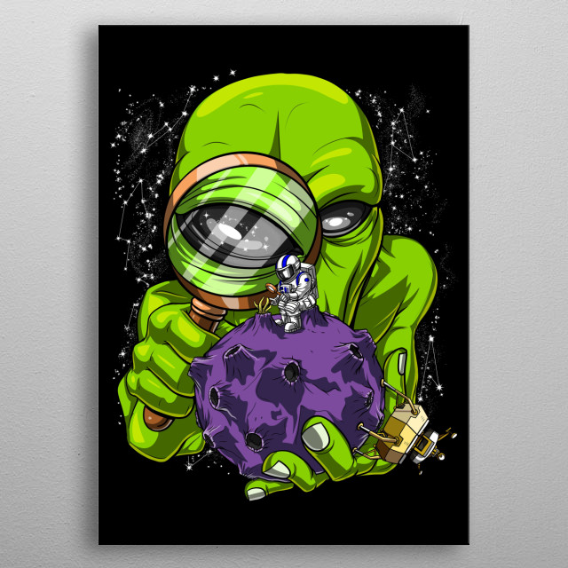 This Astronaut Alien Abduction metal poster makes a perfect gift for a science fiction lover. metal poster