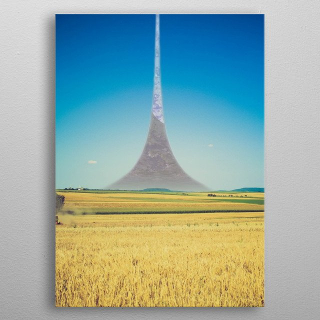 A shot of fields on a halo installation. metal poster