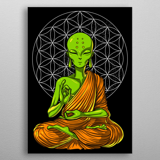 This Alien Buddha Yoga Space metal poster makes a perfect gift for a science fiction lover. metal poster