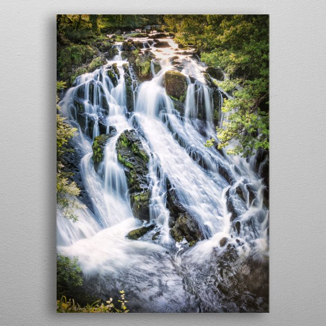 Swallow Falls is an area of outstanding natural beauty where the river Llugwy flows through a narrow chasm creating a spectacular waterfall  metal poster