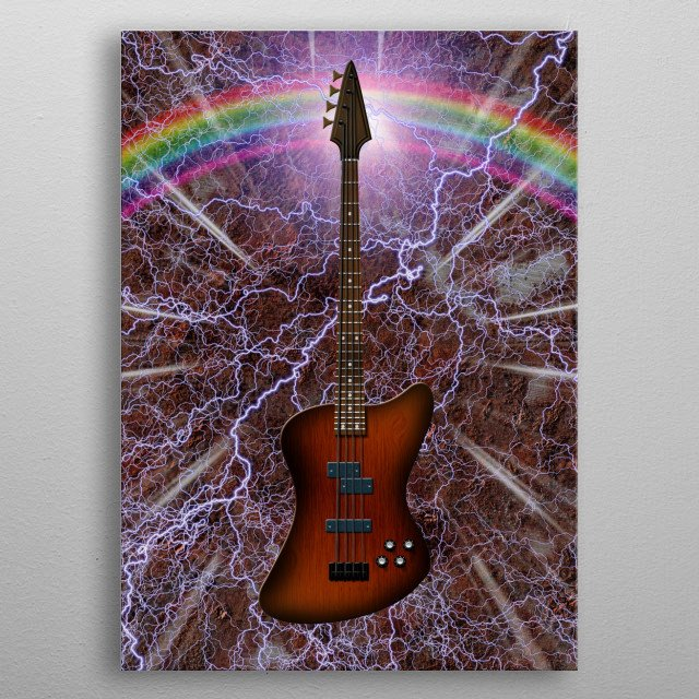 Electric Bass Guitar. Lightnings and rainbow metal poster