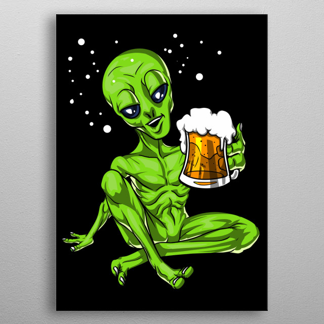 This Space Alien Beer Party product makes a perfect gift for a beer drinking lover. metal poster