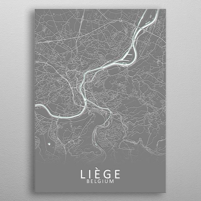 Liege Belgium City Map metal poster