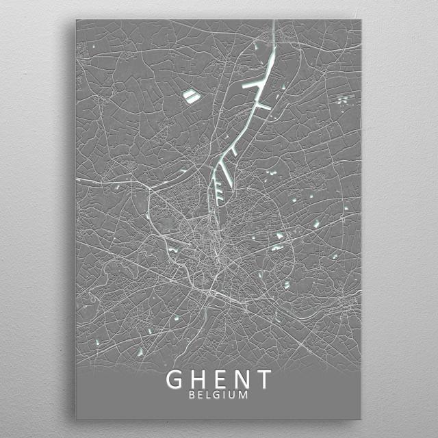 Ghent Belgium City Map metal poster
