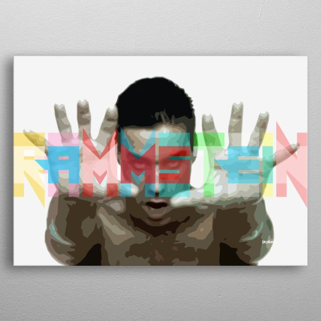 Computer graphic art print image file of rammstein in stunning colorful pop art style. metal poster