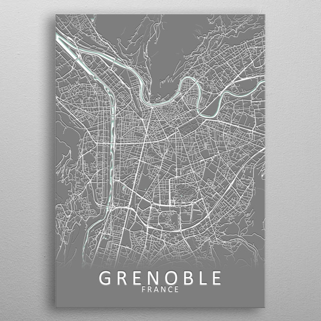 Grenoble France City Map metal poster