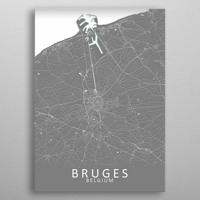 Bruges Belgium City Map metal poster