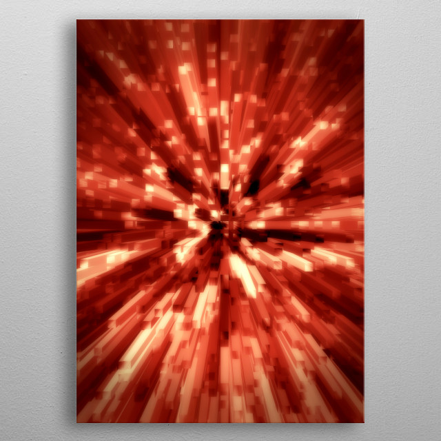 An abstract 3d composition of blood red cubes seeming to explode or run toward the viewer.  metal poster