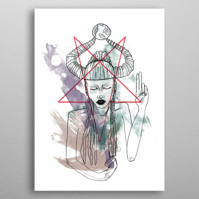 Inspired by the zodiac sign Capricorn, always connected to the Devil and Pan.  metal poster