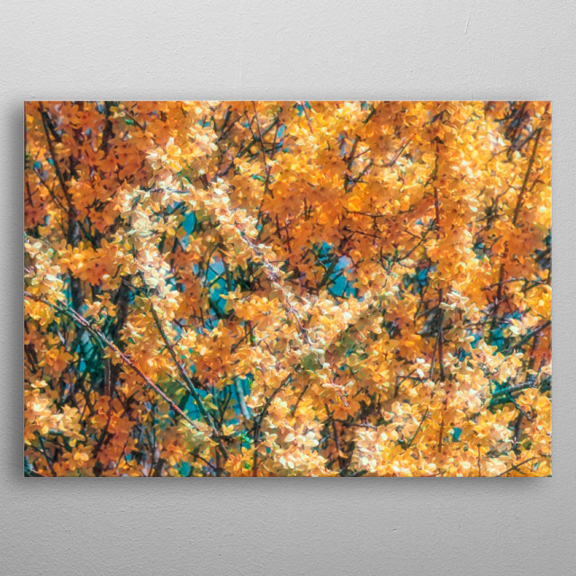 abstract tree in bloom metal poster