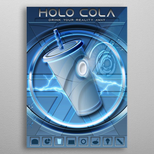 HOLO Cola, Drink Your Reality Away  Data Feed Collection featuring a mashup of Fast Food concepts with Tech Jargon  metal poster