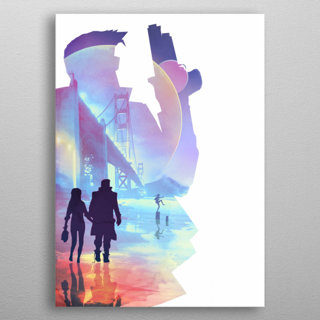 Illustration of a couple walking down a beach, whole picture is silhouetted by the main character. metal poster
