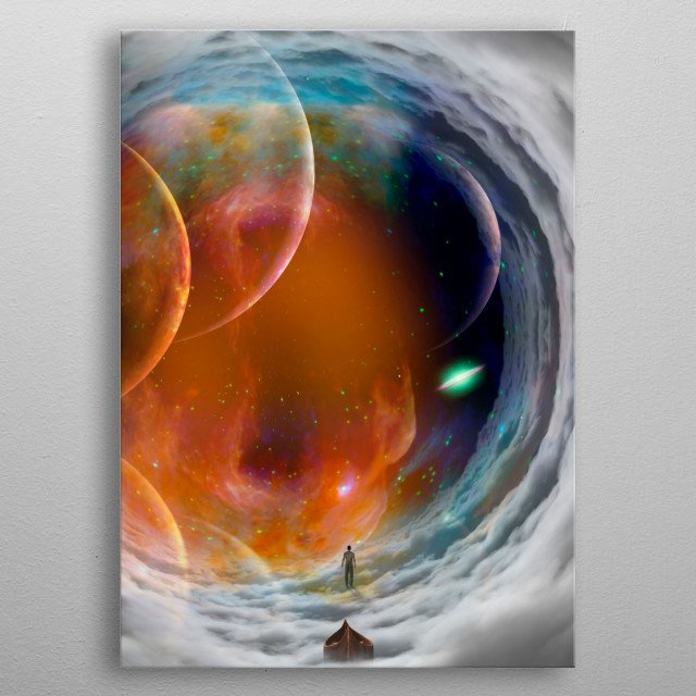 Man in cloudy space tunnel metal poster