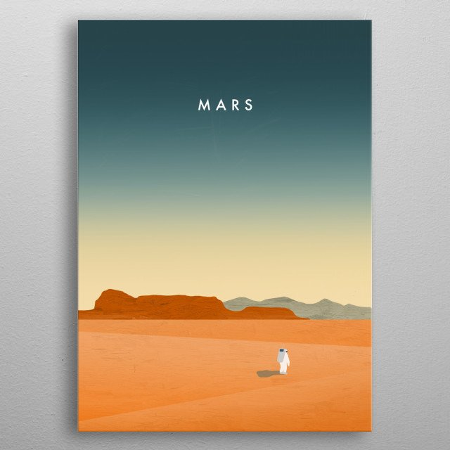 An astronaut is walking on the planet mars.  metal poster