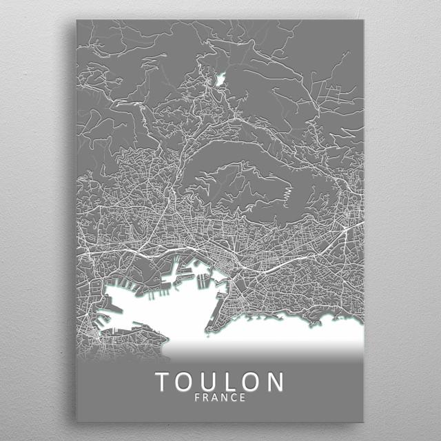 Toulon France City Map metal poster