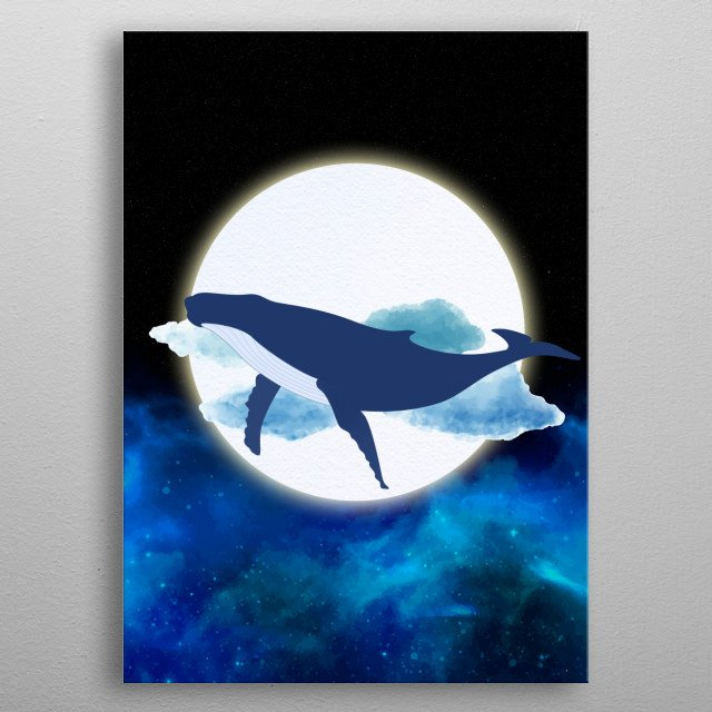 The whale swimming in the galaxy  metal poster