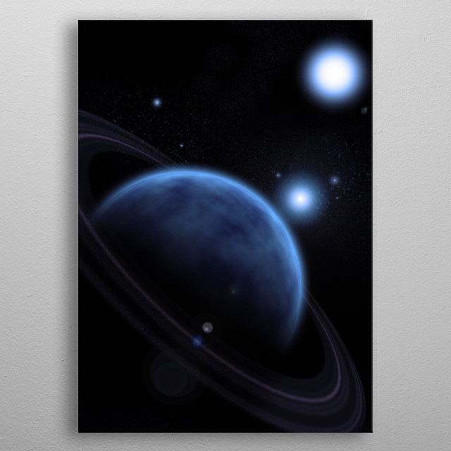 Blue exoplanet in space metal poster