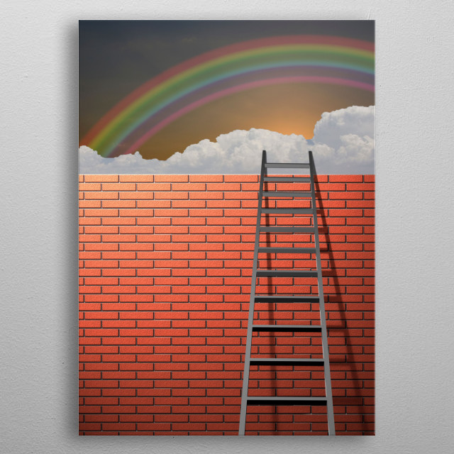 Ladder leans on brick wall. Rainbow in the sky metal poster
