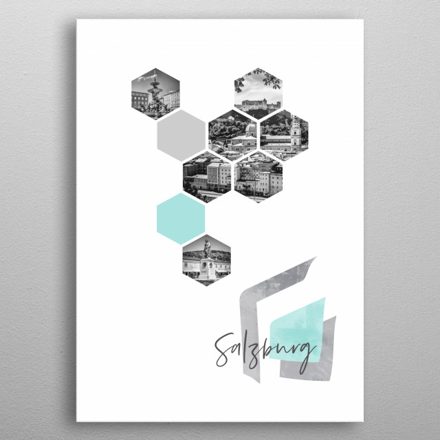 Cityscapes from Salzburg in geometric shapes. Discover Residence Square with Fountain, Old Town skyline and Mozart Square. metal poster