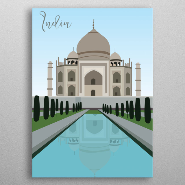 Illustration of the Taj Mahal metal poster