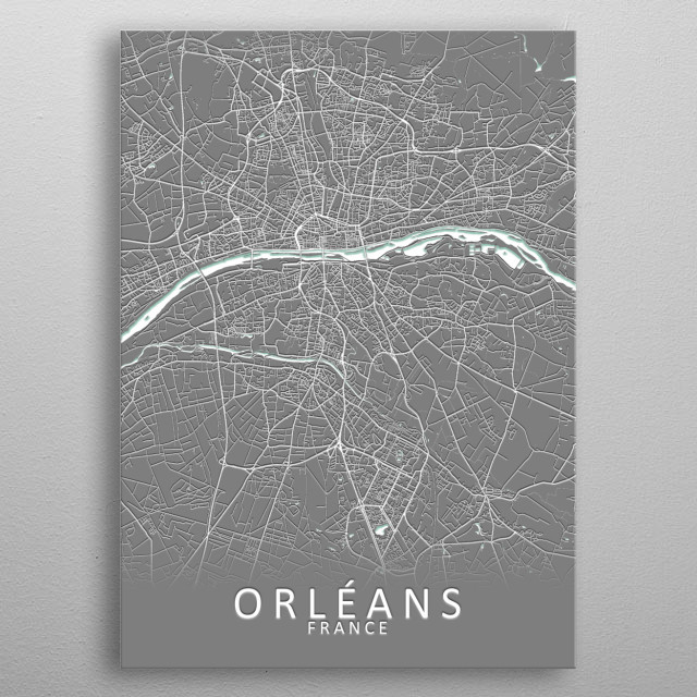 Orleans France City Map metal poster