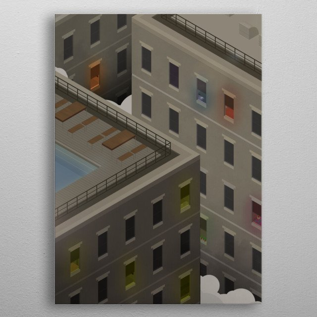 Towering skyscrapers separated by a narrow alley metal poster