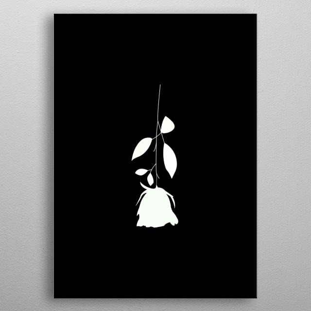 A minimal white rose upside down. metal poster