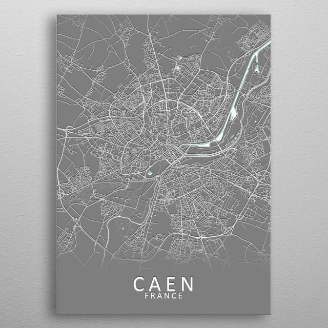 Caen France City Map metal poster