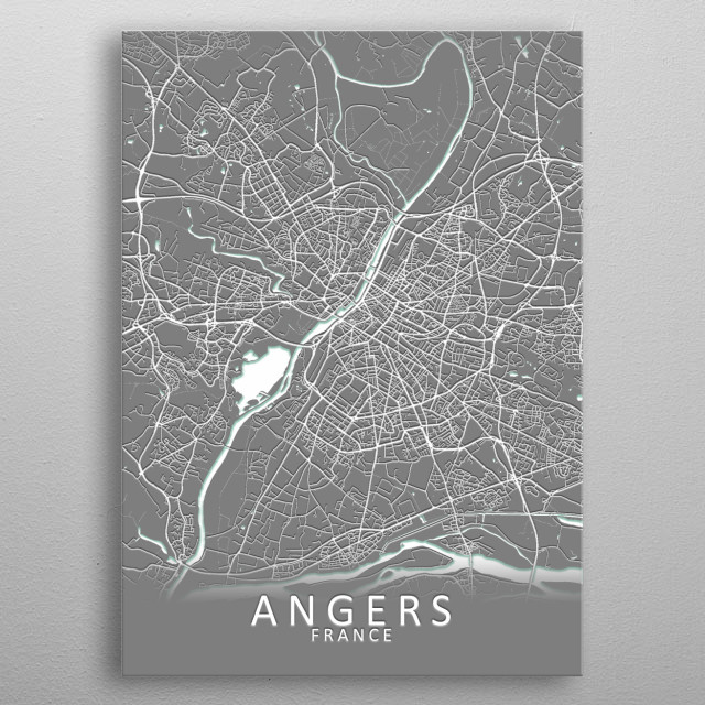 Angers France City Map metal poster