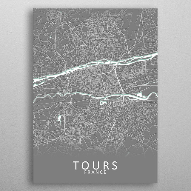 Tours France City Map metal poster