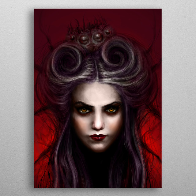 A weaver and a spider. metal poster