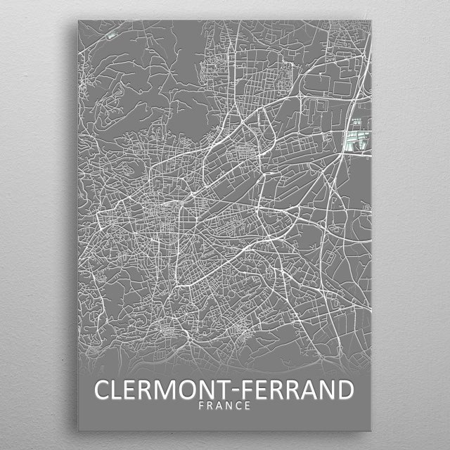 Clermont Ferrand France City Map metal poster