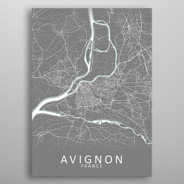 Avignon France City Map metal poster
