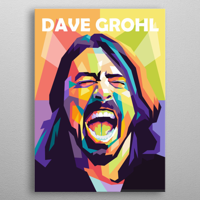 David Eric Grohl is an American singer, songwriter, musician and director in sketch pop art portrait. metal poster