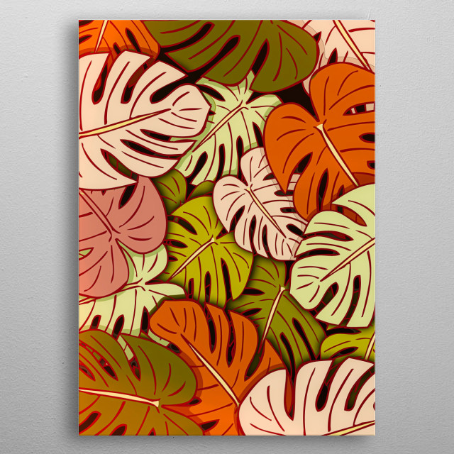 Colorful Monstera leaves design by Rockett Graphics metal poster