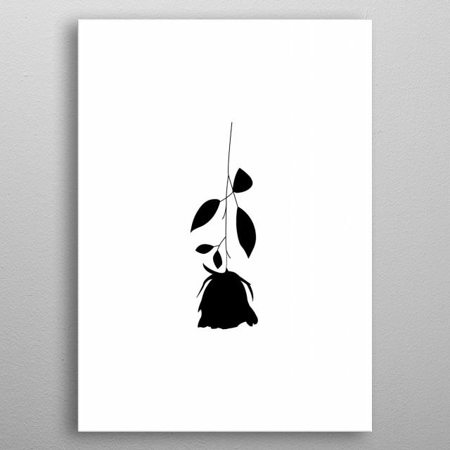 A black rose upside down. metal poster