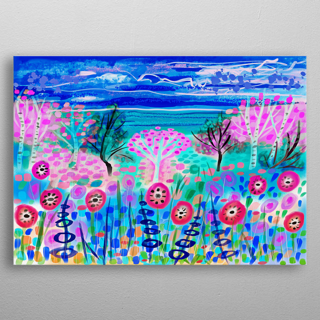 A naive digital artwork with trees sky and sea metal poster