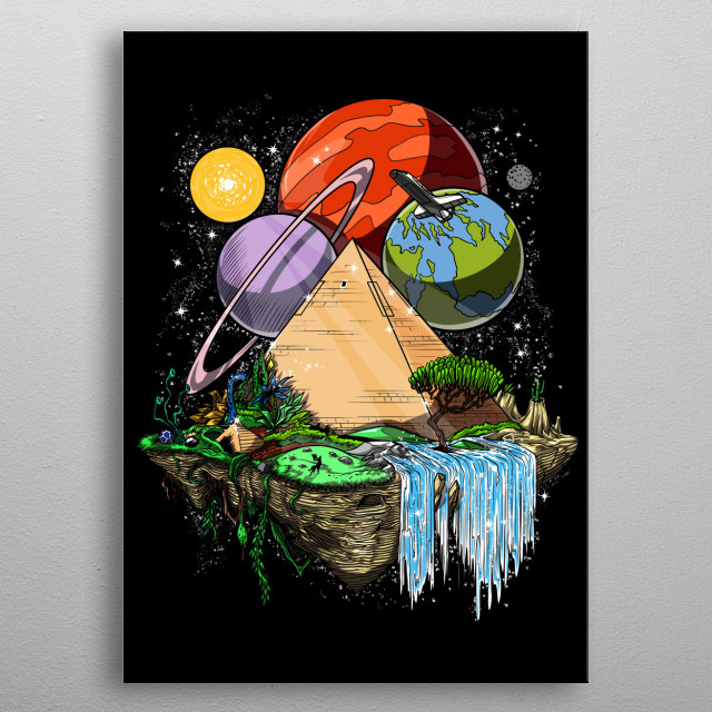 This Space Egyptian Pyramids metal poster makes a perfect gift for any science fiction lover. metal poster