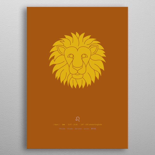 Minimal Leo star sign (lion) including date (duration), celestial longitude, astrological symbol and multi language translations. metal poster