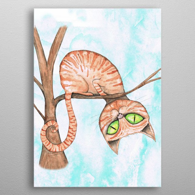 A watercolor painting of a red striped cat in a tree. He is sitting on a branch an looking with his head up side down at you.   metal poster