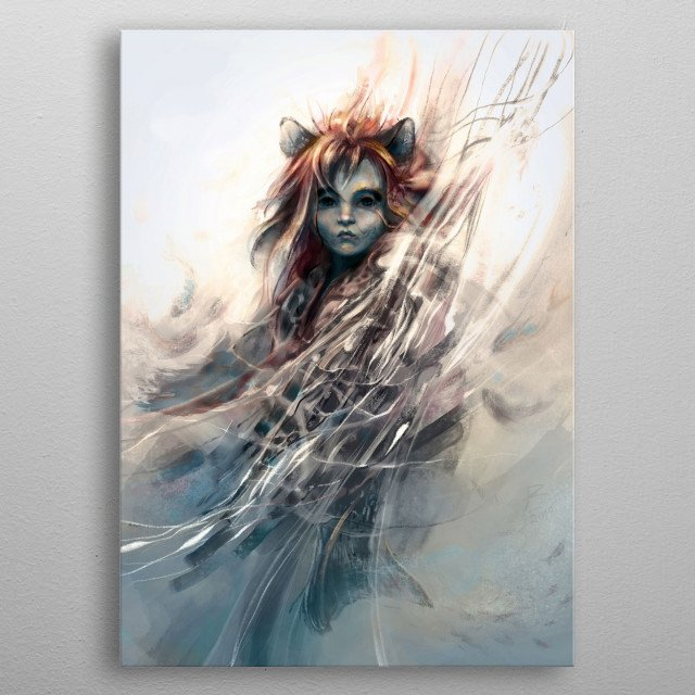A little mermaid in the nets. metal poster