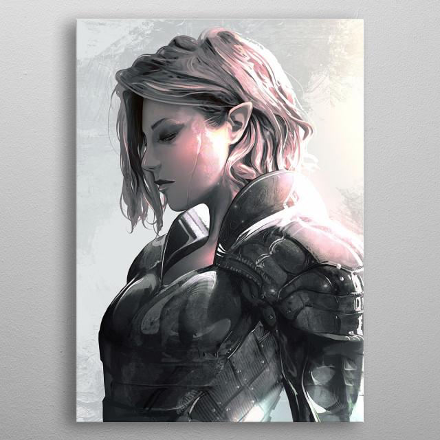 Battle-hardened elf in armor OC metal poster