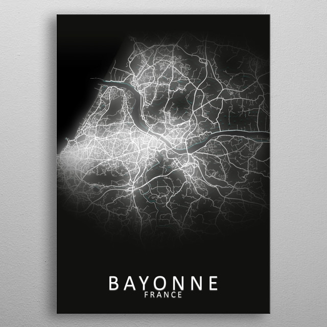 Bayonne France City Map metal poster