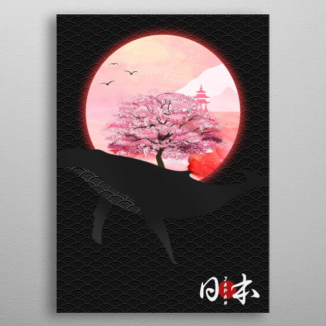 Illustration of the beautiful Whale in Japan. metal poster
