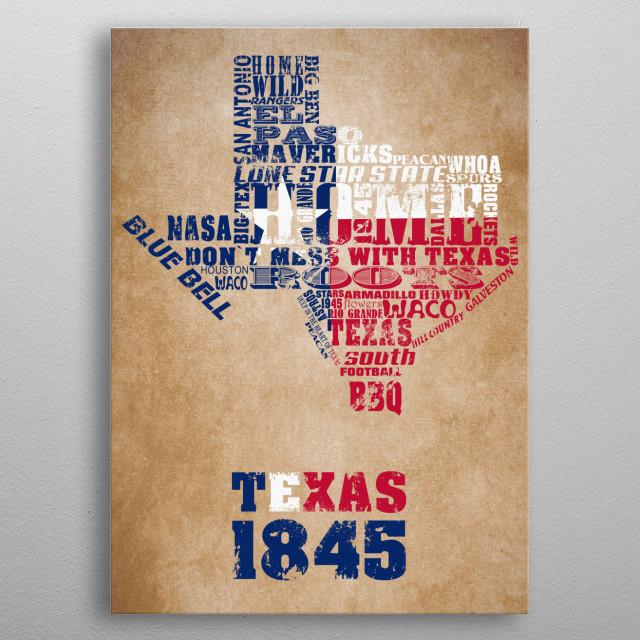 Texas Word Map  metal poster