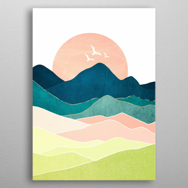 Abstract landscape of a spring vista with birds, coral, blue and mountains metal poster