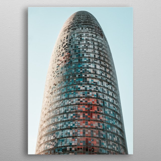 Architectural photograph of a modern glass tower metal poster