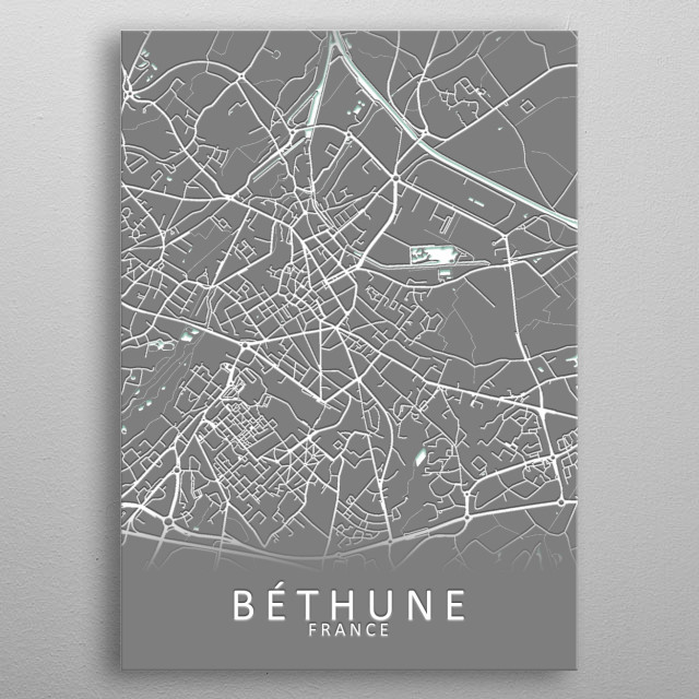 Bethune France City Map metal poster