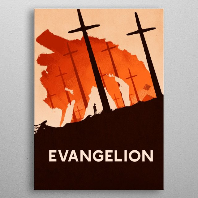 Illustration from the popular anime Neon Genesis Evangelion. Inspired by the memorable cross explosions. metal poster