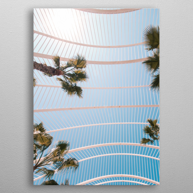Architectural photography of cage and palm trees against blue sky metal poster